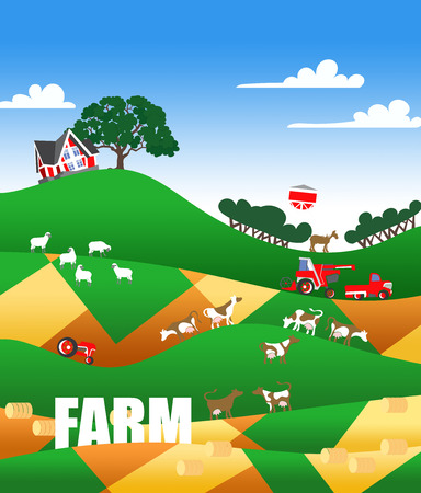 Cartoon illustration of a farm landscape with flock, buildings and text