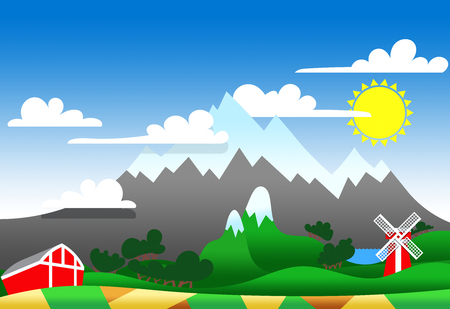 patchwork landscape: Cartoon illustration of a highland landscape with buildings Stock Photo