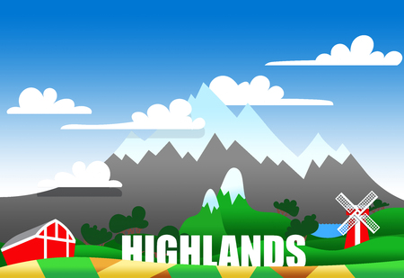 patchwork landscape: Cartoon illustration of a highland landscape with buildings and text Stock Photo