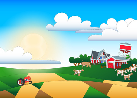 patchwork landscape: Cartoon illustration of farmland with buildings and flock