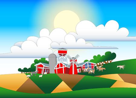 Cartoon illustration of farmland with buildings and flock