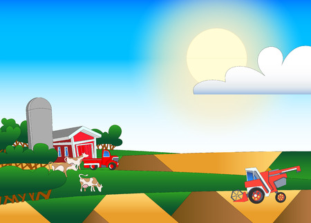 Cartoon illustration of farmland with buildings and flock