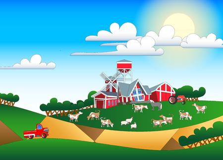 cornfield: Cartoon illustration of farmland with buildings and flock