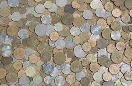 hryvna: Wide range of different russian coins Stock Photo