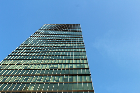 low  angle: Low angle of view, building.