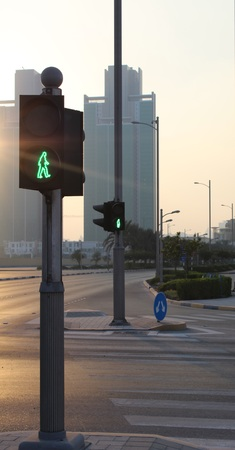 dont walk: Traffic lights in sunset.