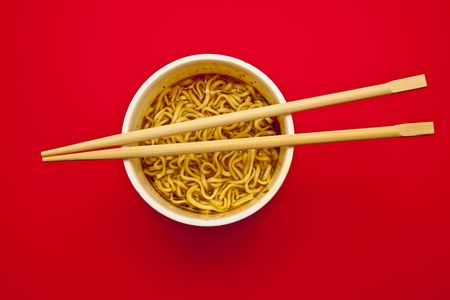 Instant Noodles cup and chopstick Stock Photo - 8109486