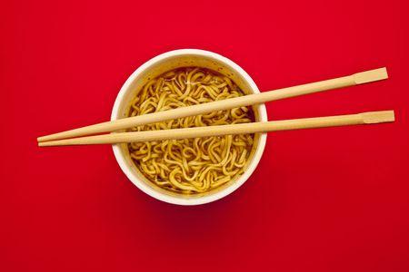 Instant Noodles cup and chopstick