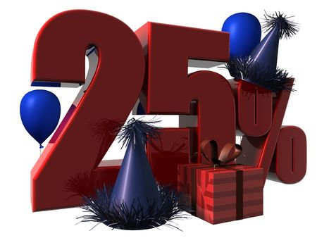 3D Render of 25 percent sale sign with party hats balloons and wrapped gift isolated on a white background Stock Photo