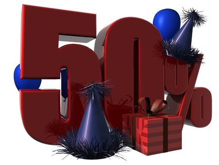 3D Render of 50 percent sale sign with party hats balloons and wrapped gift isolated on a white background Stock Photo