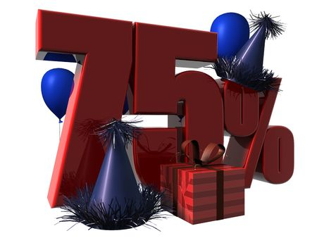 3D Render of 75 percent sale sign with party hats balloons and wrapped gift isolated on a white background