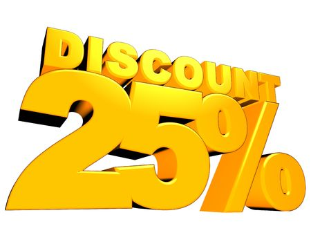 3D render of a 25 percent discount sign isolated on a white background Stock Photo - 9785546