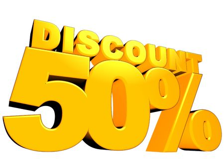 3D render of a 50 percent discount sign isolated on a white background Stock Photo