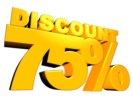 3D render of a 75 percent discount sign isolated on a white background