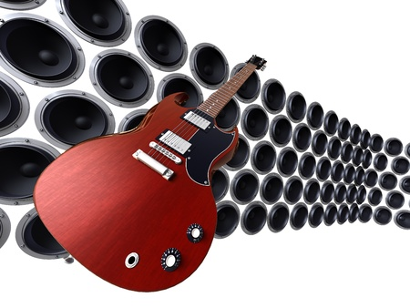 3D render of guitar floating in front of a wall of loudspeakers