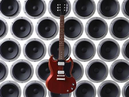 3d render of red guitar floating in front of loud speakers