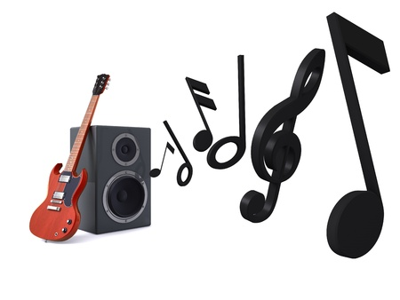 musical instrument symbol: 3D render of guitar leaning against a loudspeakers playing melodies