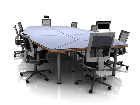3D render of conference table and chairs isolated on a white background Stock Photo