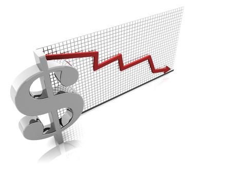 3D illustration render of U.S. currency falling