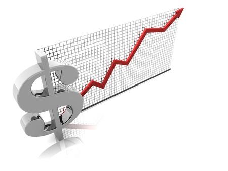 3D illustration render of U.S. Currency rising