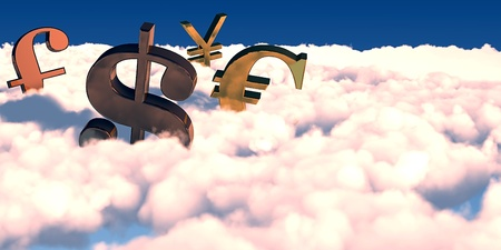 3D render of currency symbols floating over the clouds Stock Photo