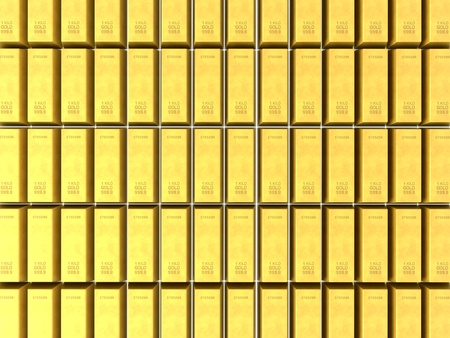 3D render of stacked rows of shiny gold bars