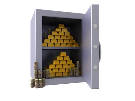 3D render of a open bank vault Stock Photo