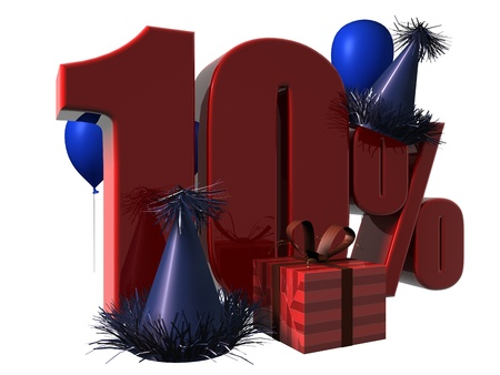 3D Render of 10 percent sale sign with party hats balloons and wrapped gift isolated on a white background Stock Photo
