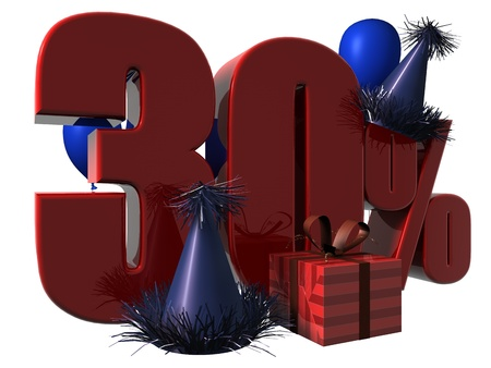 3D Render of 30 percent sale sign with party hats balloons and wrapped gift isolated on a white background Stock Photo