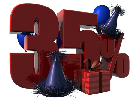 3D Render of 35 percent sale sign with party hats balloons and wrapped gift isolated on a white background