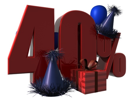 3D Render of 40 percent sale sign with party hats balloons and wrapped gift isolated on a white background