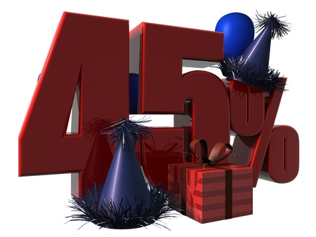 3D Render of 45 percent sale sign with party hats balloons and wrapped gift isolated on a white background
