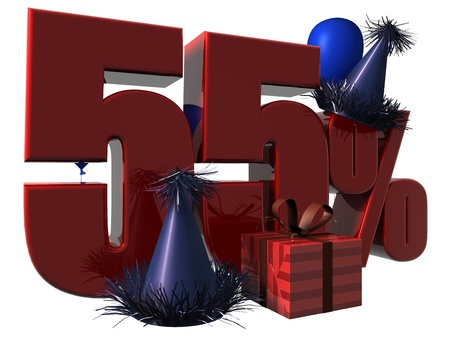 3D Render of 55 percent sale sign with party hats balloons and wrapped gift isolated on a white background Stock Photo