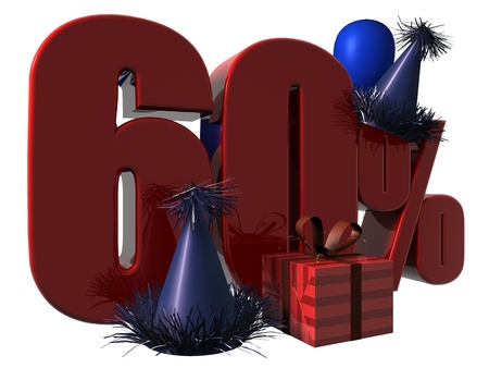 3D Render of 60 percent sale sign with party hats balloons and wrapped gift isolated on a white background