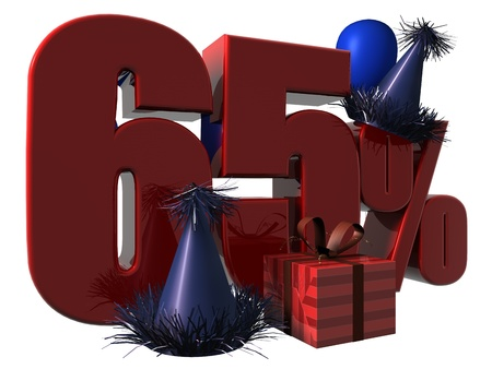 3D Render of 65 percent sale sign with party hats balloons and wrapped gift isolated on a white background Stock Photo