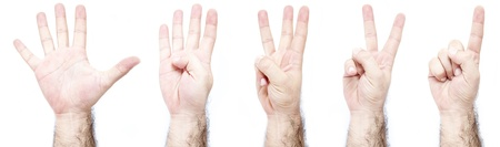 One Two Three Four Five Hand Gestures, hairy arm isolated on a white background