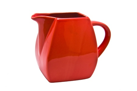 Red olive oil jug isolated on a white background