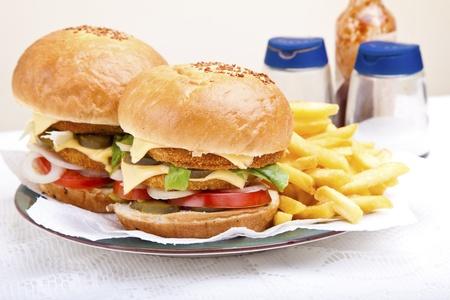 Juicy huge chicken scallop burger