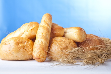 tasty fresh baked bread with wheat