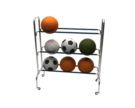3D render of balls rack isolated on white background