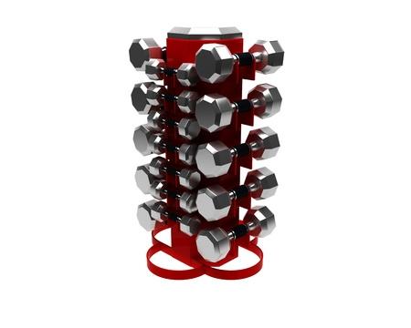 3D render of dumbbells rack isolated on white background Stock Photo