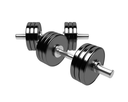 weights: 3D render of a pair of dumbbells isolated on white background
