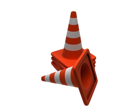 3D render of traffic cones isolated on white background