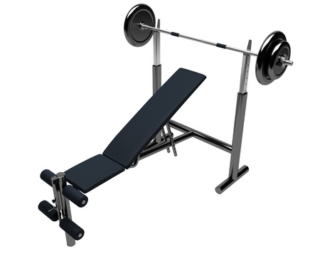 3D render of incline weight lifting bench isolated on white background