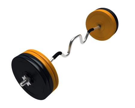 3D render of bench press weights isolated on white background Stock Photo