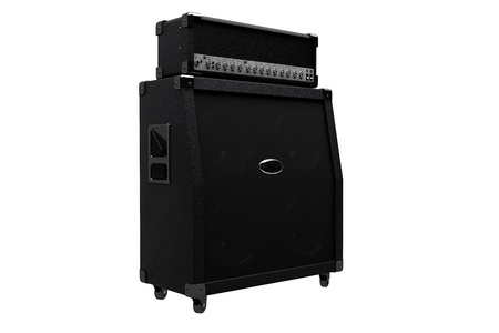 3D render of guitar amplifier isolated on white background