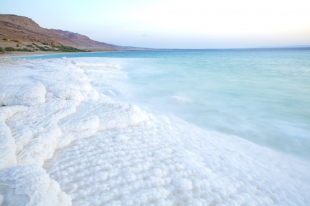 sea scape: Salt accumulation on the Dead Sea shore in Jordan Stock Photo