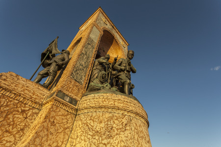 Horizontal wide view of the Republic monument located at Taksim square  Istanbul, Turkey