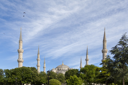 view of Sultanahmet mosque s minarets rising from behind the trees Stock Photo