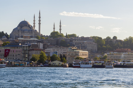Wide view of Rustem Pasha mosque in the foreground, and Sulaymania Mosque in the background  Istanbul, Turkey